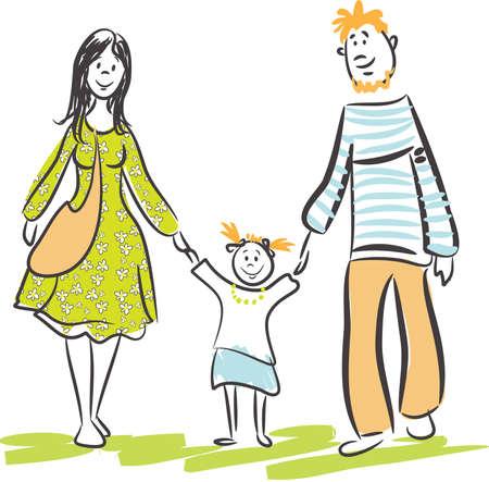 Family walk Illustration