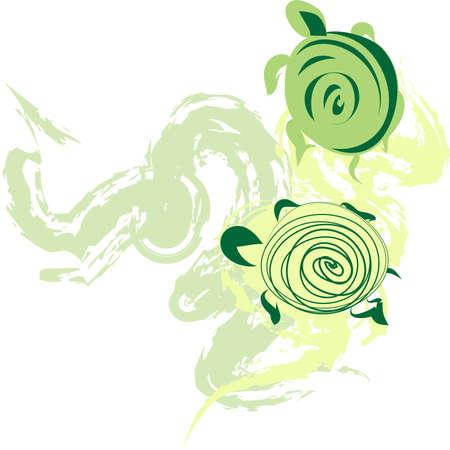 Green turtles Vector