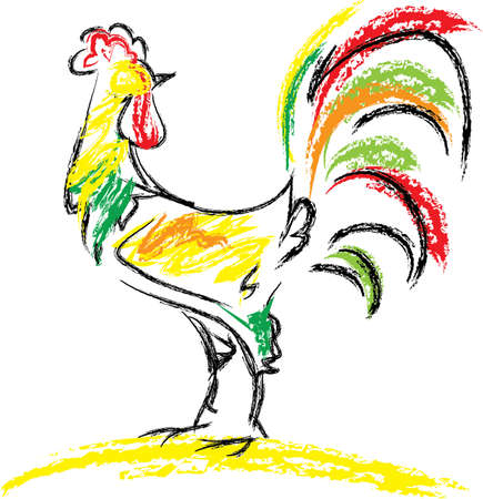 animal cock: Gallo colorato