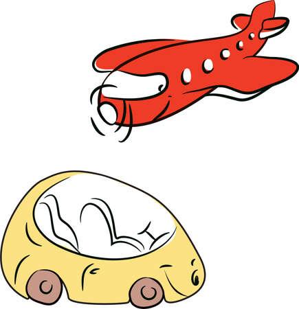 Flugzeug und Auto