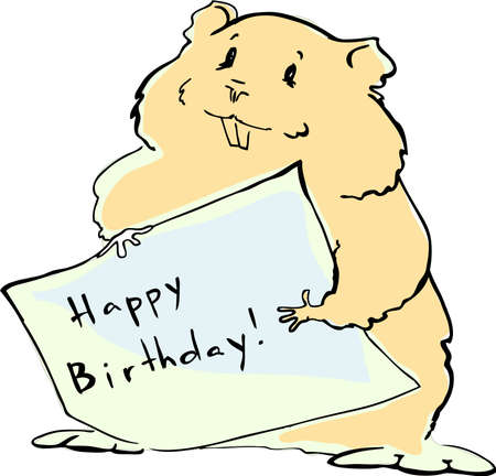 Funny hamster with a birthday greeting Vector