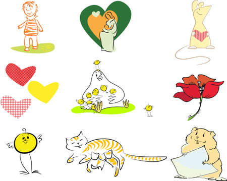 A set of images you can use to congratulate your friends with the happy event and birth of the baby Vector