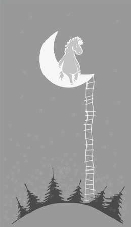 wooden stairs: Horse on the moon