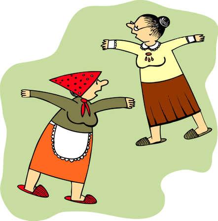 damas antiguas: Se�oras de edad  Vectores