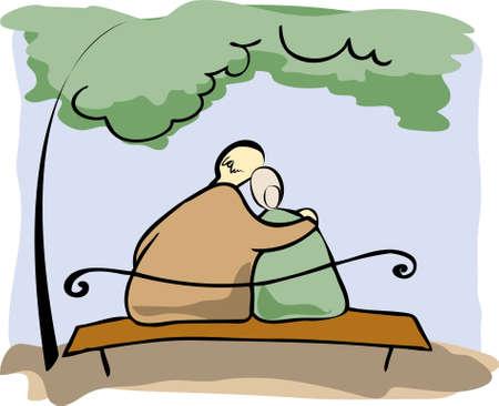 obeso: Casal de idosos Ilustração