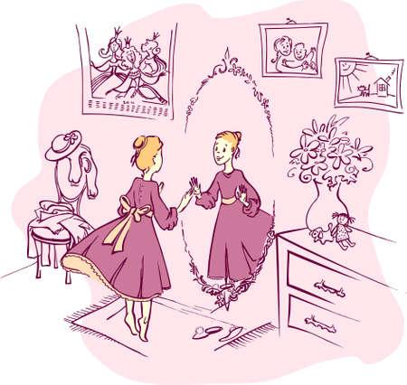 M�dchen in einem lila Zimmer