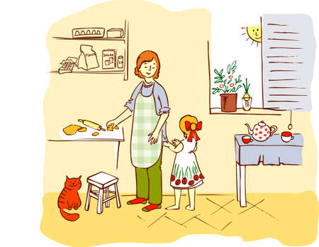 floor cloth: Mother and daughter in the kitchen