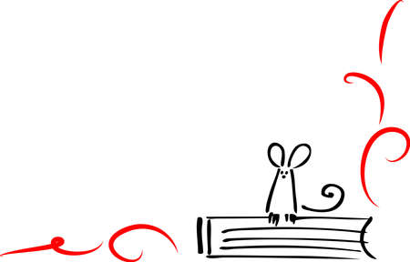 simple line drawing: Book and mouse Illustration