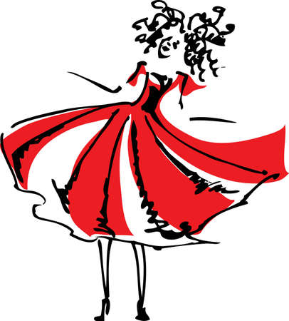 Girl in a red dress Stock Vector - 15493848