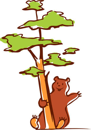pinetree: Bear and pine Illustration