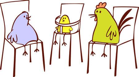 Chicken family Illustration