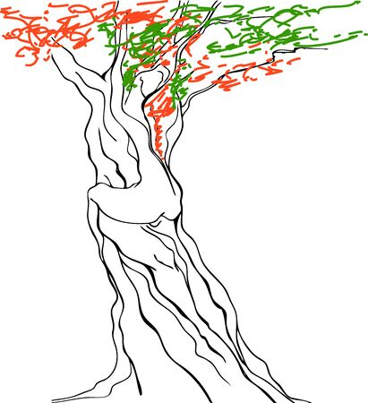 nude mann: Erotic Baum Illustration