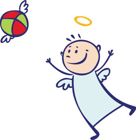 Baby angel playing with the ball Stock Vector - 15732522
