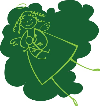lactancia materna: �ngel lactancia verde con el fondo