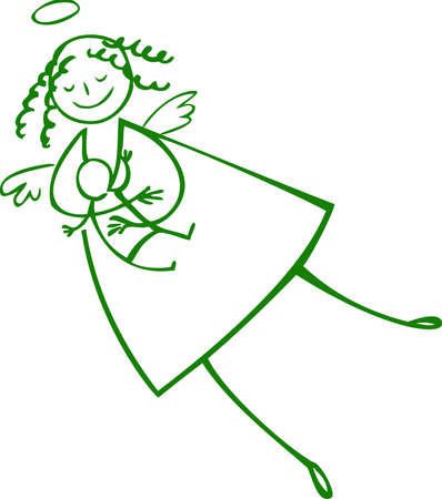 nursing mother: Green breastfeeding angel without the background