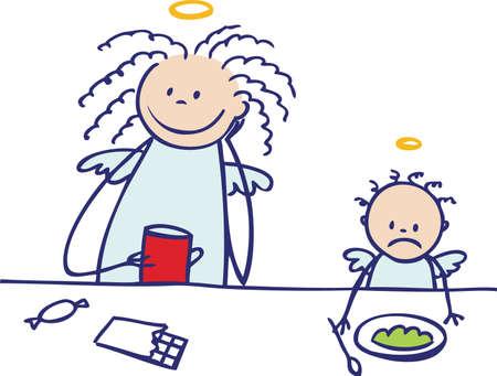coffeebreak: Moms are not angels  enjoying coffee-break Illustration