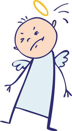 Baby angel hit by his nimbus Stock Vector - 15732519