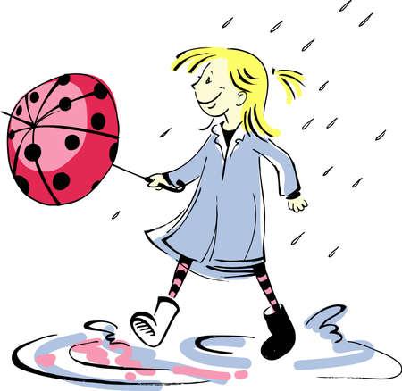 good mood: ladybug umbrella Illustration