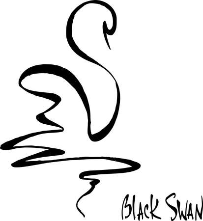 Black swan logo and lettering.