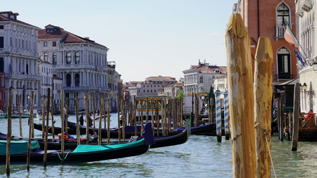Gondolas in the Grand Canal of Venice, Italy