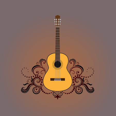 melodic: Acoustic guitar with decorative ornament Illustration