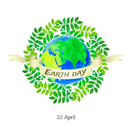 mare agitato: Illustration of Earth day with watercolor texture on white background. Vettoriali