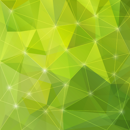 Abstract shining polygonal triangular geometric background with glaring lights for use in design for card, invitation, poster, banner, placard or billboard cover. Illustration
