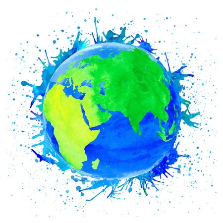 Vector illustration of Earth. Watercolor style with spots and splashes. Illustration