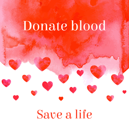 rh: Donate blood save a life motivational lettering for medical help. Vector illustration