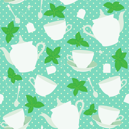 Seamless pattern with cups and teapots and mint. Vector illustration Illustration