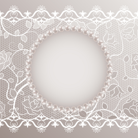 Template for wedding greeting or invitation card with lace and pearl frame. Vector illustration. EPS10