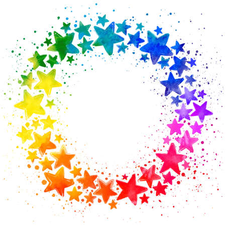 Circle composition with hand drawn watercolor colorful stars and place for the text in the middle on white background