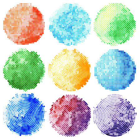 Set of abstract halftone colorful circles. Design elements. Vector illustration Illustration