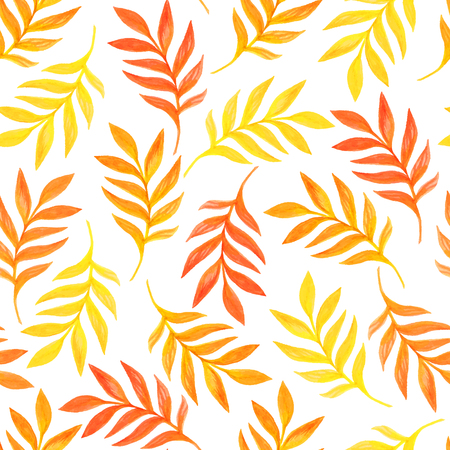 Floral seamless pattern with orange leaves on white background. Beautiful texture. Romantic background. Organic vector ornament. Watercolor graphic which can be used as wallpaper