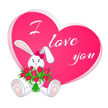 Cute little bunny with bouquet of tulips. Valentine card. I Love You. Vector illustration, EPS10 Illustration