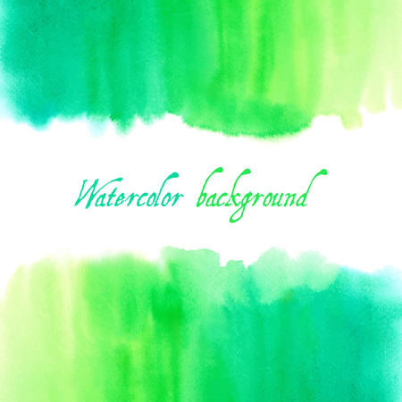 Vector green abstract hand drawn watercolor background for your design.
