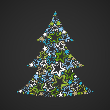 Abstract christmas tree made of multicolored stars on dark background. Greeting card. Vector illustration