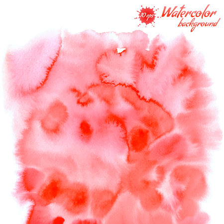 Handpainted red watercolor background. Vector watercolor splash for your design Illustration