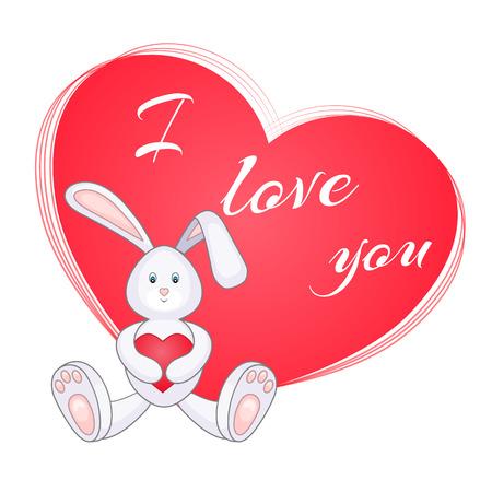 Mignon petit lapin avec un coeur rouge. Carte de Saint Valentin Je t'aime. Illustration vectorielle, EPS10