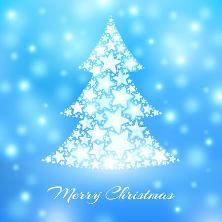 Abstract christmas tree made of white stars on blue background. Greeting card. Vector illustration
