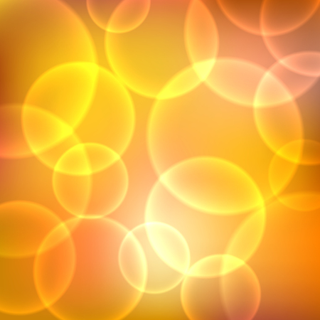 Shining orange background with light effects. Magic defocused glitter sparkles. Blurred soft backdrop. Vector illustration. EPS10
