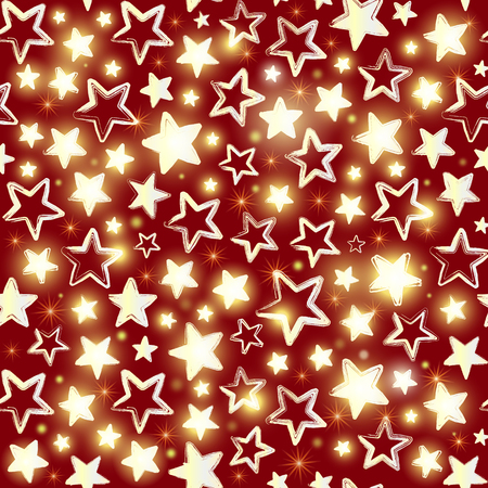 Seamless pattern with shining stars on red background. Beautiful greeting background.