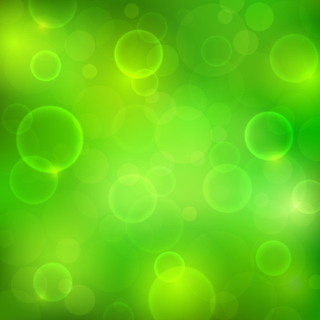 Abstract green background with magic lights. Blurred soft backdrop.