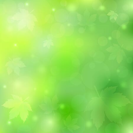 Spring or summer background with bokeh lights and maple leaves. Green blurred soft backdrop. Vector illustration. EPS10