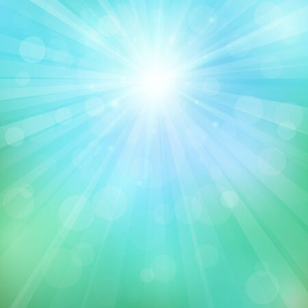 Spring or summer background with bokeh lights. Abstract illustration with sun beams and defocused lights. Sunny natural background. Blurred soft backdrop. Vector illustration. EPS10
