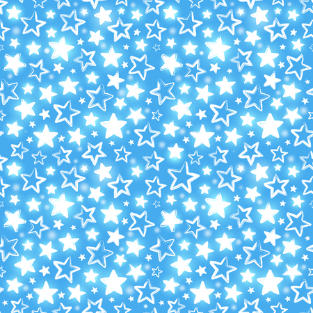 Seamless pattern with shining stars on blue background. Beautiful greeting background. Wrapping paper. Illustration