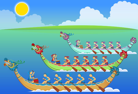Chinese dragon boat racing festival Ilustrace
