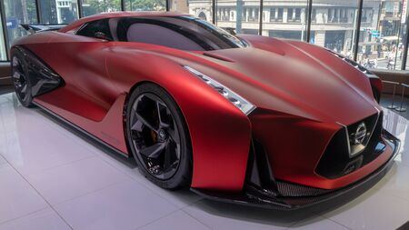 Tokyo, Japan - August 2018: The Nissan Concept 2020 Vision Gran Turismo car on display at Nissan Crossing showroom in Ginza