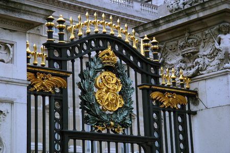 Buckingham Palace Gate and the Crest of King George - London, England photo
