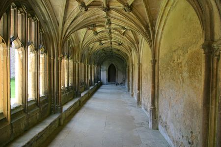 Lacock Abbey Cloisters in the village of Lacock, Wiltshire, England.